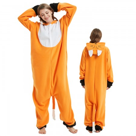 Japanese Fox Onesie Costume Pajama for Adult Women & Men Halloween Costumes