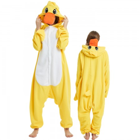 Yellow Duck Onesie Costume Pajama for Adult Women & Men Halloween Costumes