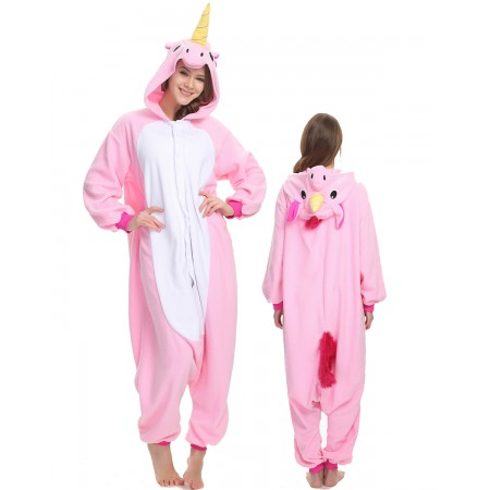 Pink Unicorn Onesie Costume Pajama for Adult Women & Men Halloween Costumes