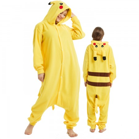 Pikachu Onesie Costume Pajama for Adult Women & Men Halloween Costumes