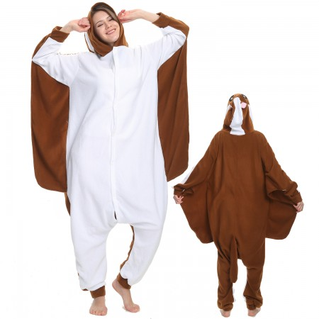 Flying Squirrel Onesie Costume Pajama for Adult Women & Men Halloween Costumes