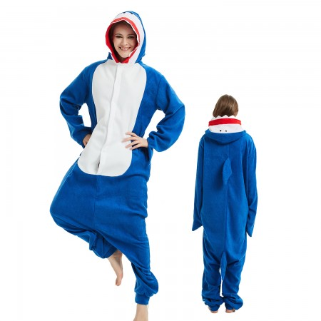 Shark Onesie Costume Pajama for Adult Women & Men Halloween Costumes