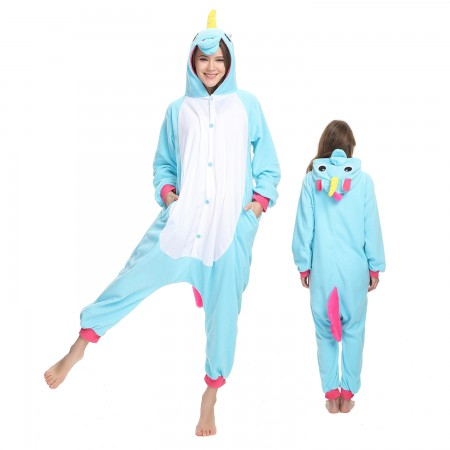 Blue Unicorn Onesie Costume Pajama for Adult Women & Men Halloween Costumes