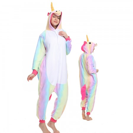 Rainbow Unicorn Onesie Costume Pajama for Adult Women & Men Halloween Costumes