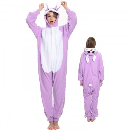 Purple Rabbit Onesie Costume Pajama for Adult Women & Men Halloween Costumes