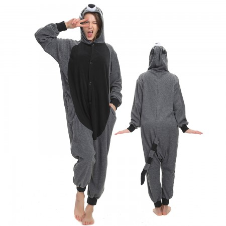 Grey Raccoon Onesie Costume Pajama for Adult Women & Men Halloween Costumes