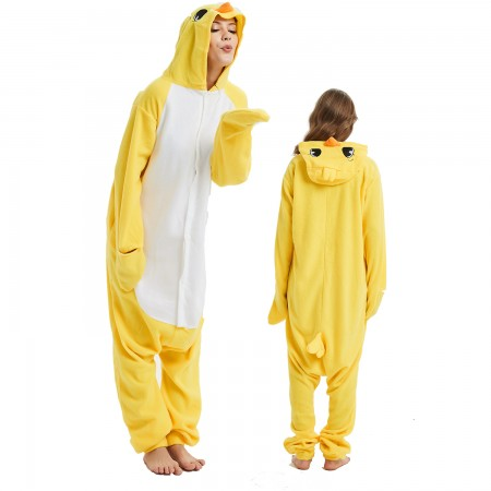 Yellow Chick Onesie Costume Pajama for Adult Women & Men Halloween Costumes