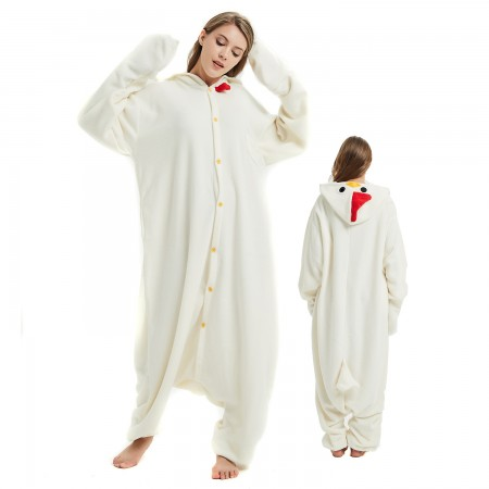 White Cock Onesie Costume Pajama for Adult Women & Men Halloween Costumes