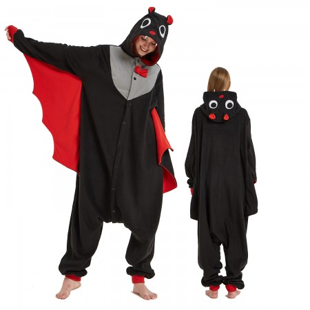 Bat Onesie Costume Pajama for Adult Women & Men Halloween Costumes