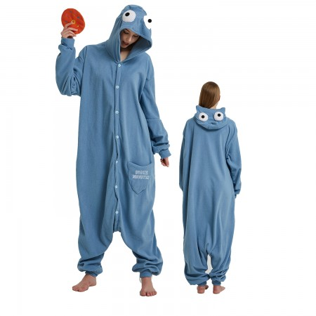 Sesame Street Blue Monster Onesie Costume Pajama for Adult Women & Men Halloween Costumes