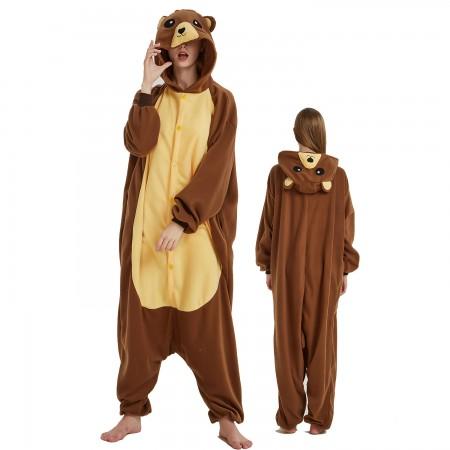 Brown Bear Onesie Costume Pajama for Adult Women & Men Halloween Costumes