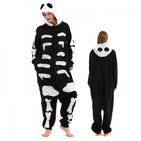 Skeleton Onesie Costume Pajama for Adult Women & Men Halloween Costumes