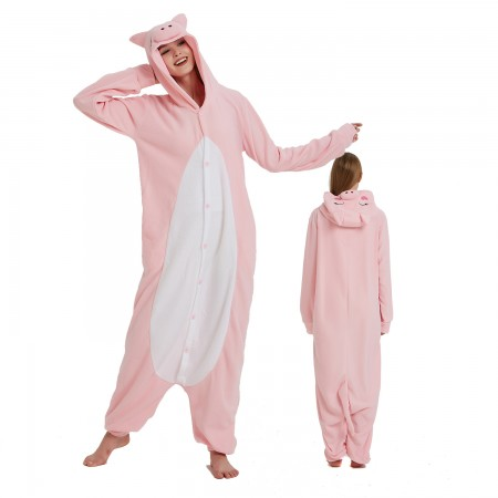 Pink Pig Onesie Costume Pajama for Adult Women & Men Halloween Costumes