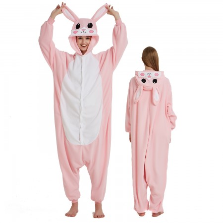Pink Rabbit Onesie Costume Pajama for Adult Women & Men Halloween Costumes