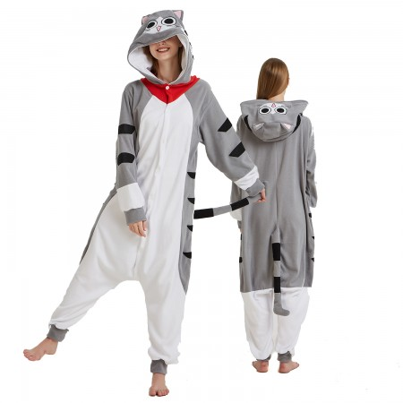 Cheese Cat Onesie Costume Pajama for Adult Women & Men Halloween Costumes