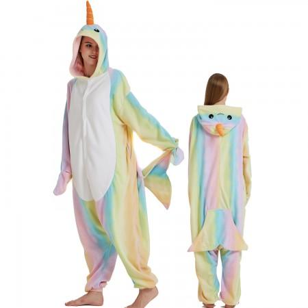 Rainbow Narwhal Onesie Costume Pajama for Adult Women & Men Halloween Costumes