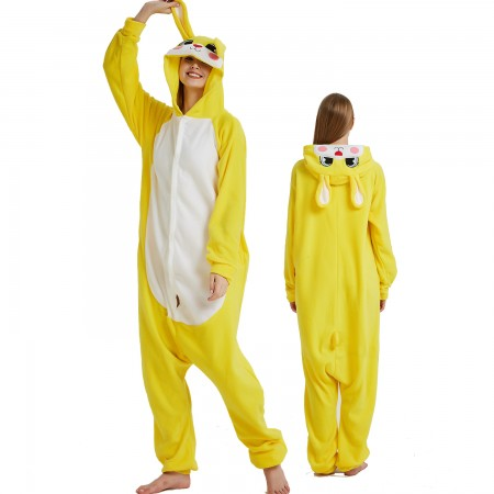 Yellow Rabbit Bunny Onesie Costume Pajama for Adult Women & Men Halloween Costumes