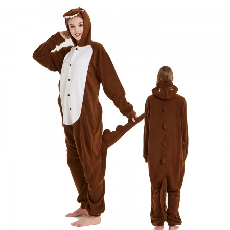 Brown Dinosaur Onesie Costume Pajama for Adult Women & Men Halloween Costumes