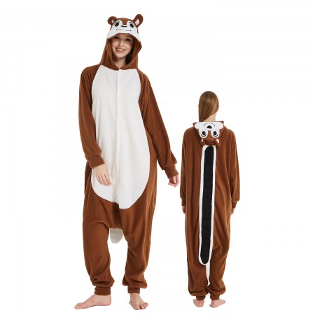 Chipmunk Onesie Costume Pajama for Adult Women & Men Halloween Costumes