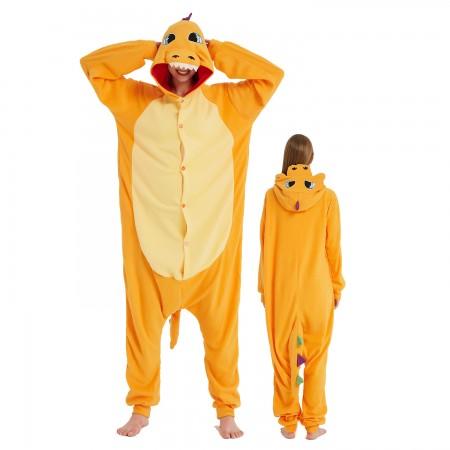 Colorful Yellow Dragon Onesie Costume Pajama for Adult Women & Men Halloween Costumes