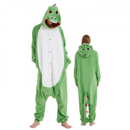 Colorful Green Dragon Onesie Costume Pajama for Adult Women & Men Halloween Costumes