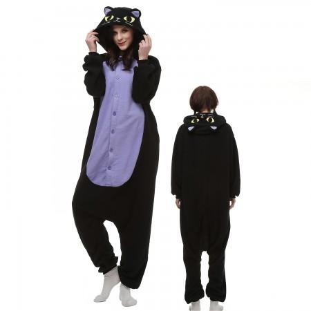 Midnight Cat Costume Onesie Pajamas Adult Animal Onesie for Women & Men