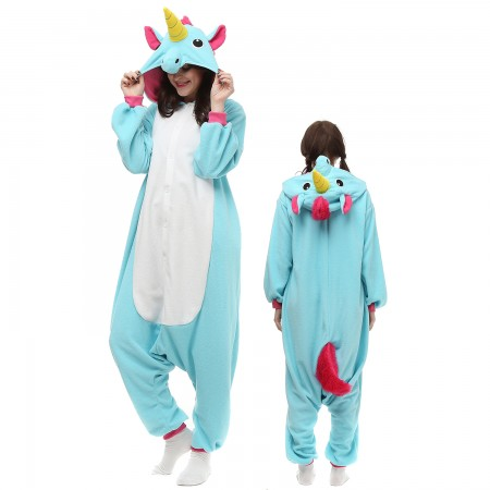 Blue Unicorn Costume Onesie Pajamas Adult Animal Onesie for Women & Men