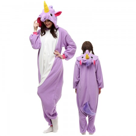 Purple Unicorn Costume Onesie Pajamas Adult Animal Onesie for Women & Men