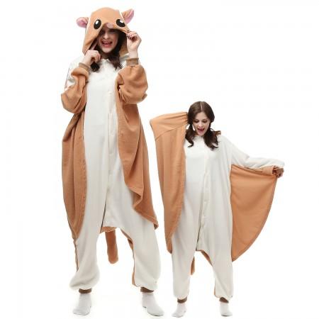 Flying Squirrel Costume Onesie Pajamas Adult Animal Onesie for Women & Men