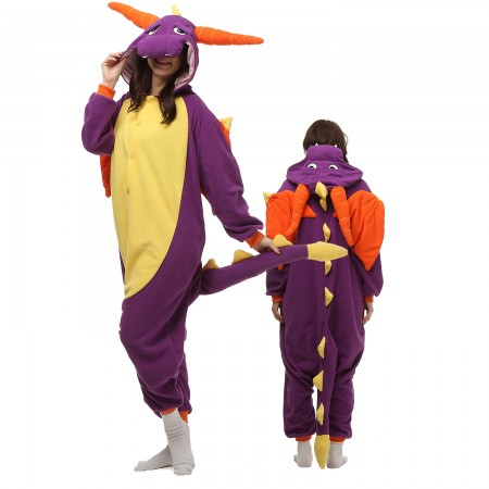 Purple Dragon Costume Onesie Pajamas Adult Animal Onesie for Women & Men