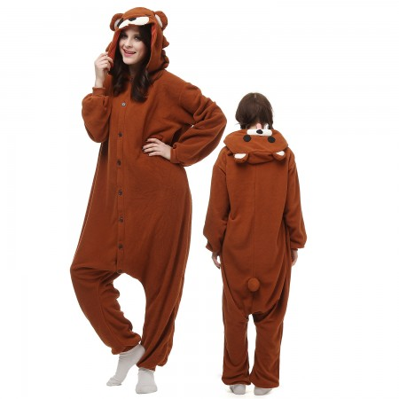 Brown Bear Costume Onesie Pajamas Adult Animal Onesie for Women & Men