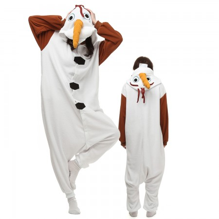 Snowman Olaf Costume Onesie Pajamas Adult Animal Onesie for Women & Men