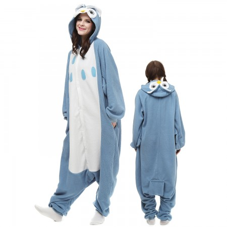 Blue Owl Costume Onesie Pajamas Adult Animal Onesie for Women & Men
