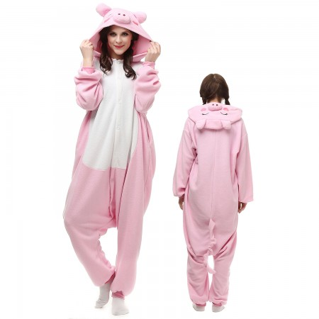 Pink Pig Costume Onesie Pajamas Adult Animal Onesie for Women & Men