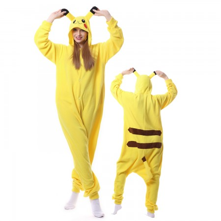 Pokemon Pikachu Costume Onesie Pajamas Adult Animal Onesie for Women & Men