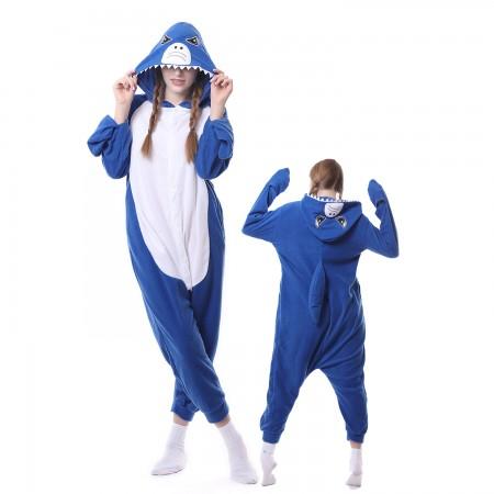 Blue Shark Costume Onesie Pajamas Adult Animal Costumes for Women & Men