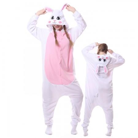 White Rabbit Costume Onesie Pajamas Adult Animal Costumes for Women & Men