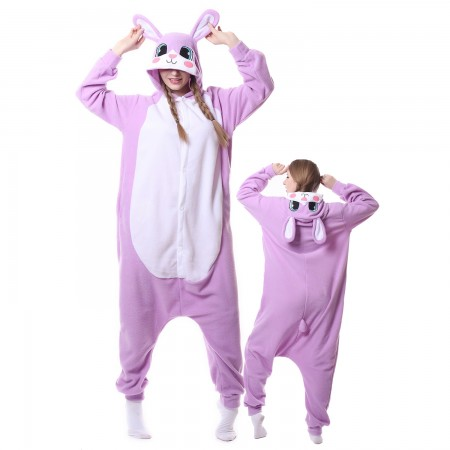 Purple Rabbit Costume Onesie Pajamas Adult Animal Costumes for Women & Men
