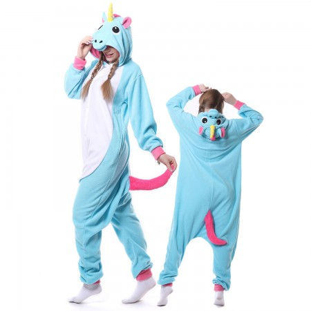 Blue Unicorn Costume Onesie Pajamas Adult Animal Costumes for Women & Men
