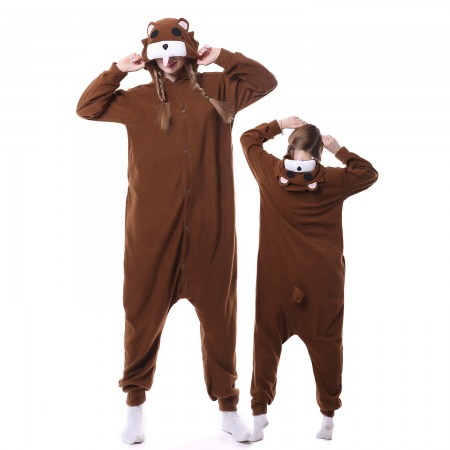 Brown Bear Costume Onesie Pajamas Adult Animal Costumes for Women & Men