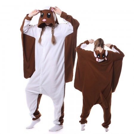 Flying Squirrel Costume Onesie Pajamas Adult Animal Costumes for Women & Men