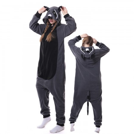Grey Raccoon Costume Onesie Pajamas Adult Animal Costumes for Women & Men