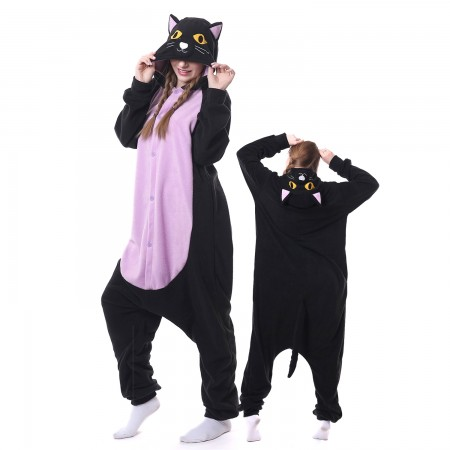 Midnight Cat Costume Onesie Pajamas Adult Animal Costumes for Women & Men