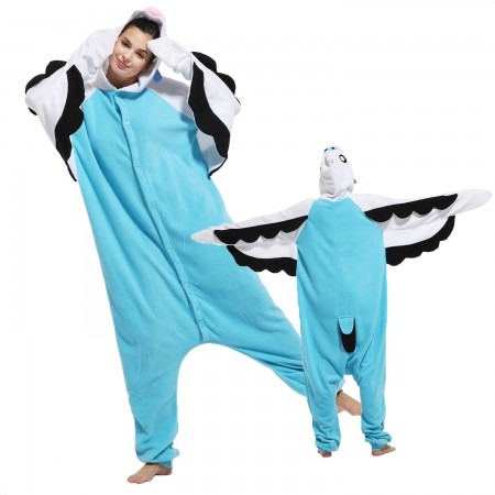 Blue Macaw Parrot Costume Onesie Pajamas Adult Animal Costumes for Women & Men