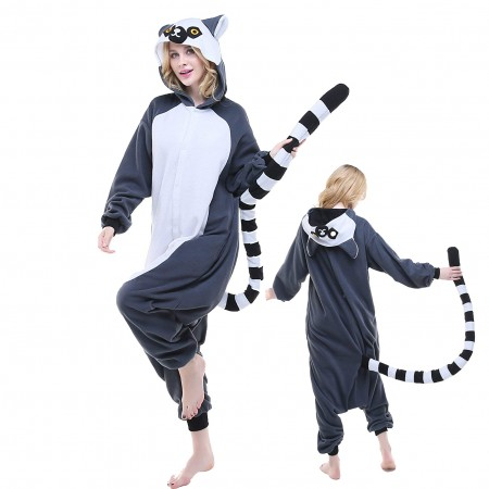 Lemur Onesie Pajamas Adult Animal Costumes for Women & Men