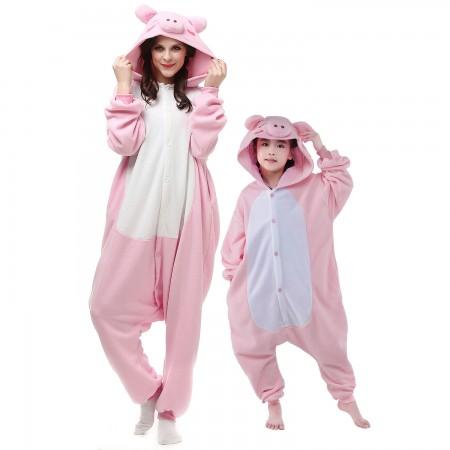 Adults & Kids Pink Pig Onesie Costumes Animal Onesies