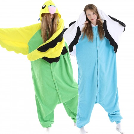 Adults Macaw Parrot Onesie Costume for Women & Men Blue/Green