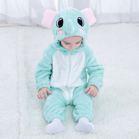 Blue Elepant Onesie Pajama Toddler Animal Costume for Baby Infant