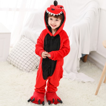 Kids Red Dinosaur Onesie Costume Pajama for Boys & Girls With Hood