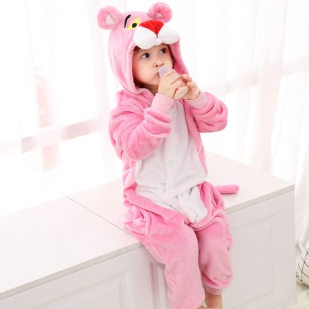 Kids Pink Panther Onesie Costume Pajama for Boys & Girls With Hood